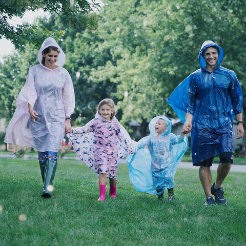 Family Pack of 4 Hooded Ponchos for Adults and 4 Kids Ponchos with Fun Designs
