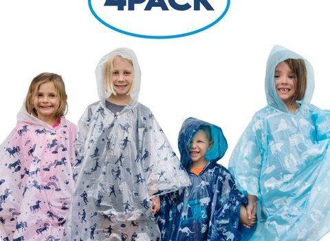 Rain Ponchos for Kids 4 pack