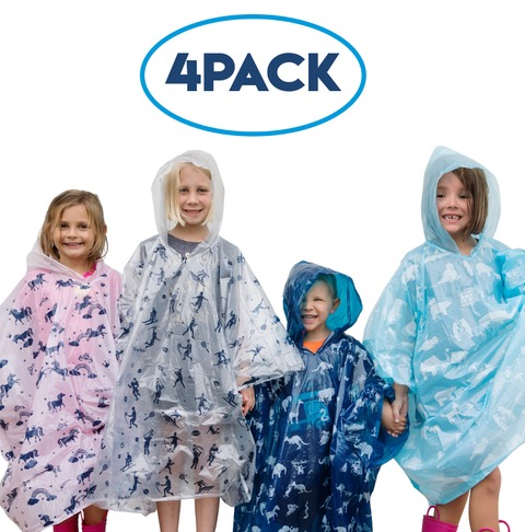 Rain Ponchos for Kids 4 pack