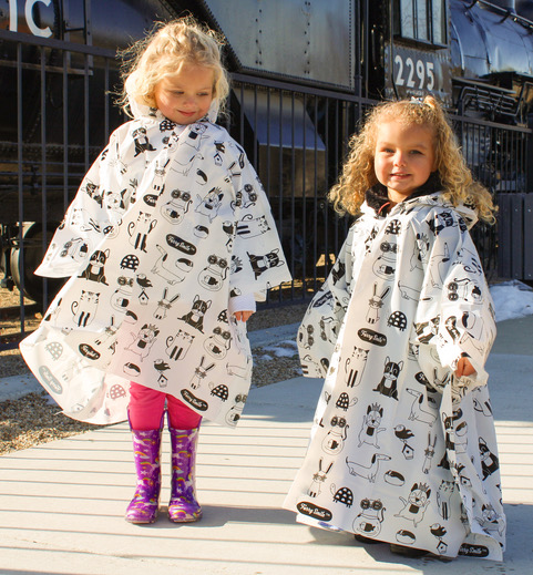 Kids Rain Poncho with Hood (2 Pack) Cute and Fun Animal Print for Boys or Girls